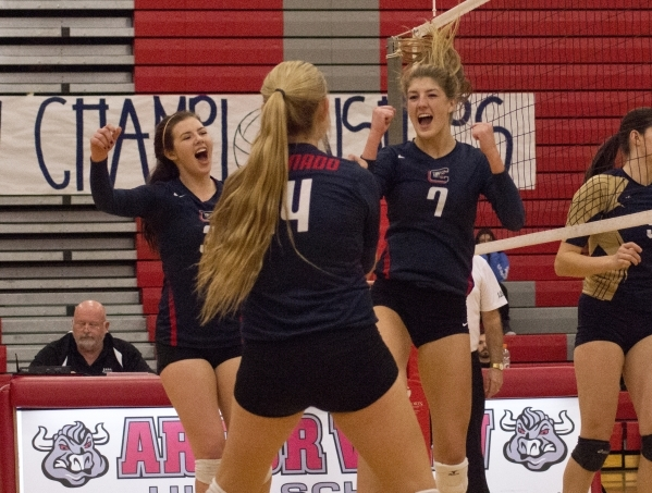 Coronado High School players celebrate a point during the Sunrise Region girls volleyball final against Foothill High School at Arbor View High School on Thursday, Nov. 5, 2015. Daniel Clark/Las V ...