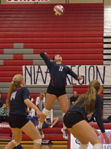 Coronado's Carolyn Andrulis (11) looks to hit the ball during the Sunrise Region girls volleyball final against Foothill High School at Arbor View High School on Thursday, Nov. 5, 2015. Dani ...
