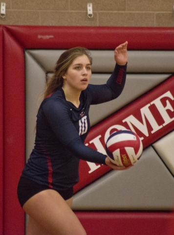 Coronado's Emily Bender (10) serves the ball during the Sunrise Region girls volleyball final against Foothill High School at Arbor View High School on Thursday, Nov. 5, 2015. Daniel Clark/L ...
