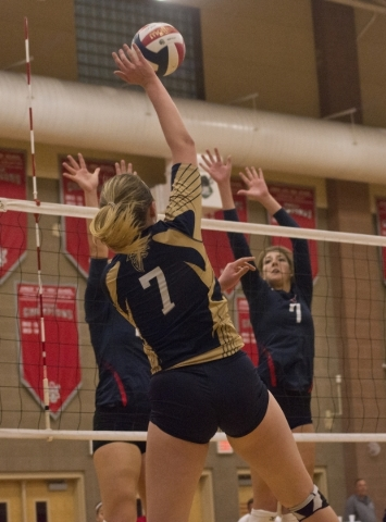 Foothill's Courtney Nilson (7) hits the ball over a block during the Sunrise Region girls volleyball final against Coronado High School at Arbor View High School on Thursday, Nov. 5, 2015. D ...