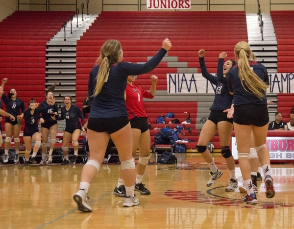 Coronado High School players celebrate after winning the Sunrise Region girls volleyball final against Foothill High School at Arbor View High School on Thursday, Nov. 5, 2015. Daniel Clark/Las Ve ...