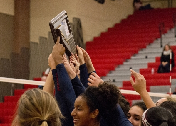 Coronado High School celebrates after winning the Sunrise Region girls volleyball final against Foothill High School at Arbor View High School on Thursday, Nov. 5, 2015. Daniel Clark/Las Vegas Rev ...