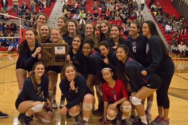 Coronado High School players pose after winning the Sunrise Region girls volleyball final against Foothill High School at Arbor View High School on Thursday, Nov. 5, 2015. Daniel Clark/Las Vegas R ...