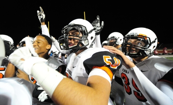 Chaparral players celebrate after they upset Faith Lutheran 21-20 in their I-A state quarterfinal football game at Faith Lutheran High School in Las Vegas Friday, Nov. 06, 2015. Josh Holmberg/Las  ...