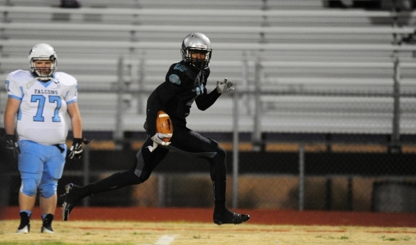 Silverado wide receiver Devion Clayton scores a touchdown against Foothill in the first quarter of their prep football game at Silverado High School in Henderson Friday, Nov. 13, 2015. Josh Holmbe ...