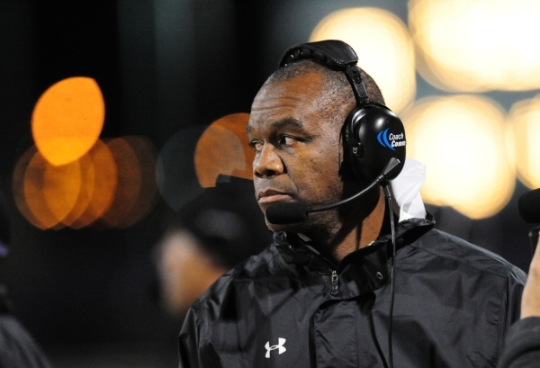 Silverado head coach Randall Cunningham is seen in the second half of their prep football game against Foothill at Silverado High School in Henderson Friday, Nov. 13, 2015. Silverado defeated Foot ...
