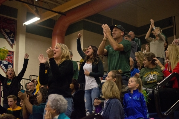 Bishop Manogue fans cheer during the Division I state semifinal match between Shadow Ridge and Bishop Manogue on Friday, Nov. 13 2015. Daniel Clark/Las Vegas Review-Journal