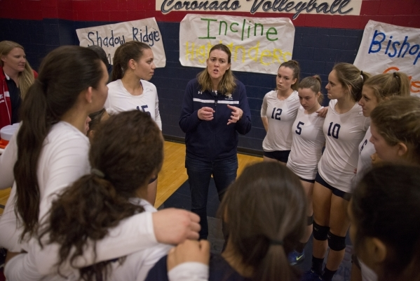 Shadow Ridge High School girls volleyball coach Karissa Guthrie talks to her players during the Division I state semifinal match between Shadow Ridge and Bishop Manogue on Friday, Nov. 13 2015. Da ...