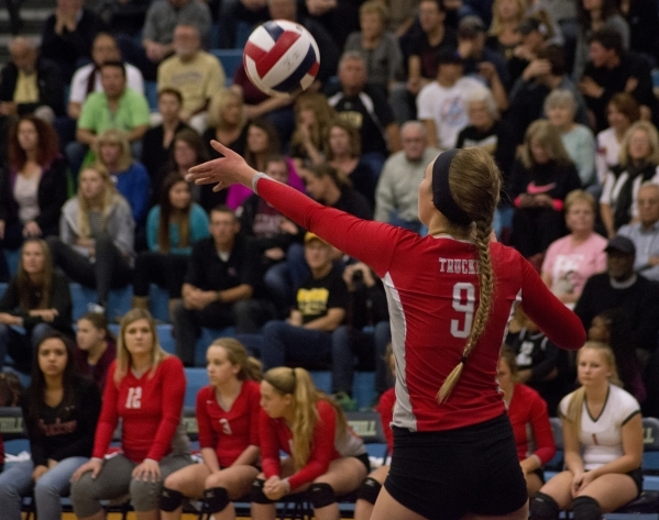Truckee's Madison Haley (9) serves during the division I-A state volleyball final match between Faith Lutheran and Truckee at Foothill High School on Saturday, Nov. 14 2015. Daniel Clark/Las ...