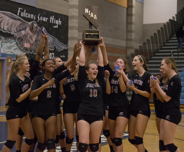 Faith Lutheran celebrates after winning the division I-A state volleyball final match between Faith Lutheran and Truckee at Foothill High School on Saturday, Nov. 14 2015. Daniel Clark/Las Vegas R ...