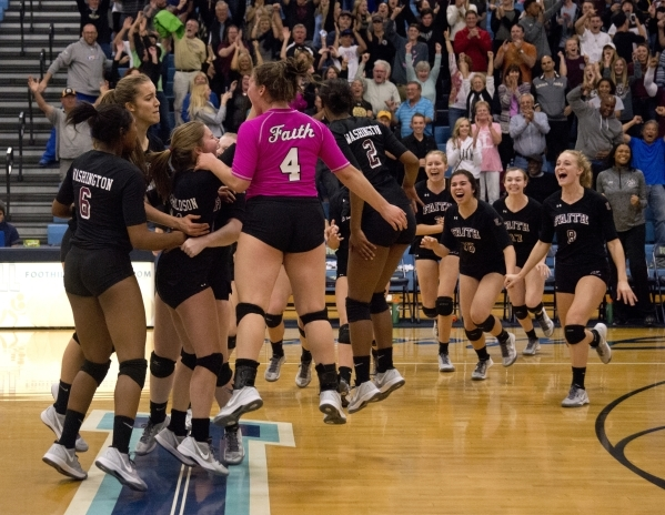 Faith Lutheran celebrates after winning the Division I-A state volleyball final match over Truckee at Foothill High School on Saturday, Nov. 14, 2015. Daniel Clark/Las Vegas Review-Journal