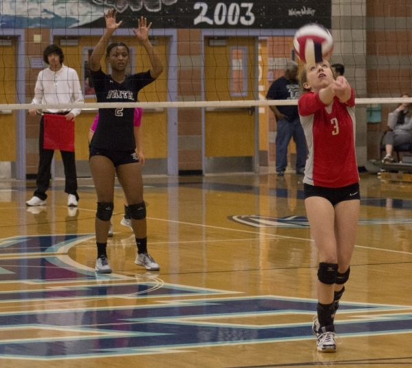 Truckee's Jordan Brown (3) hits the ball during the Division I-A state volleyball final match against Faith Lutheran at Foothill High School on Saturday, Nov. 14, 2015. Daniel Clark/Las Vega ...