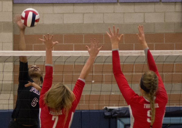 Faith Lutheran's Sydney Washington (6) hits the ball during the Division I-A state volleyball final match against Truckee at Foothill High School on Saturday, Nov. 14, 2015. Daniel Clark/Las ...