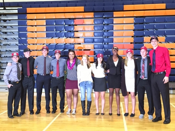 All 11 Bishop Gorman student-athletes pose after signing their National Letters of Intent on Nov. 11, 2015. Ashton Ferguson/Las Vegas-Review Journal