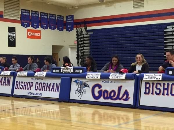 Bishop Gorman senior athletes sign their National Letters of Intent in the school's gymnasium on Nov. 11, 2015. Ashton Ferguson/Las Vegas Review Journal