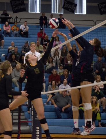 Bishop Julia Wentzel (15) hits the ball during the division I state volleyball final match between Coronado and Bishop Manogue at Foothill High School on Saturday, Nov. 14 2015. Daniel Clark/Las V ...