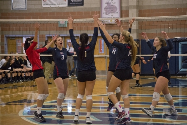 Coronado celebrates a point during the division I state volleyball final match between Coronado and Bishop Manogue at Foothill High School on Saturday, Nov. 14 2015. Daniel Clark/Las Vegas Review- ...