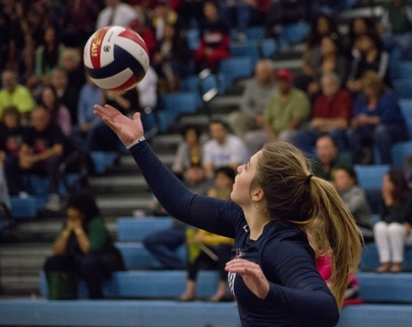 Coronado's Emily Bender (10) serves during the division I state volleyball final match between Coronado and Bishop Manogue at Foothill High School on Saturday, Nov. 14 2015. Daniel Clark/Las ...