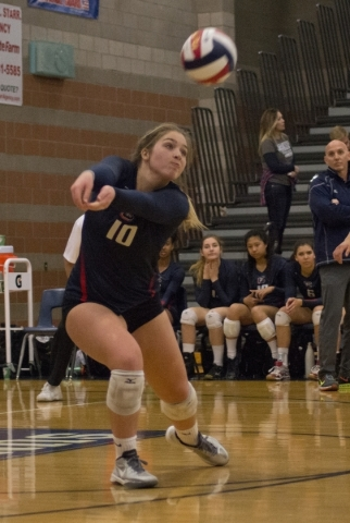 Coronado's Emily Bender (10) hits the ball during the division I state volleyball final match between Coronado and Bishop Manogue at Foothill High School on Saturday, Nov. 14 2015. Daniel Cl ...