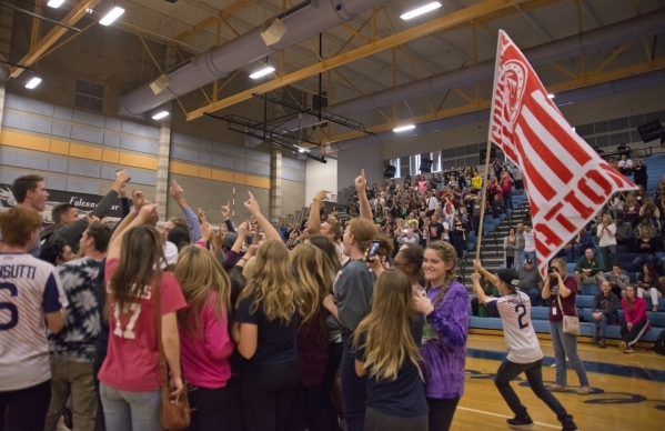 Coronado celebrates after winning the division I state volleyball final match between Coronado and Bishop Manogue at Foothill High School on Saturday, Nov. 14 2015. Daniel Clark/Las Vegas Review-J ...
