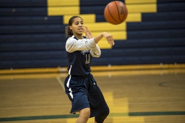 Kayla Harris passes the ball during basketball practice at Spring Valley High School in Las Vegas on Wednesday, Nov. 18, 2015. Joshua Dahl/Las Vegas Review-Journal