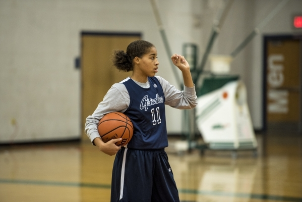 Kayla Harris holds the ball during basketball practice at Spring Valley High School in Las Vegas on Wednesday, Nov. 18, 2015. Joshua Dahl/Las Vegas Review-Journal