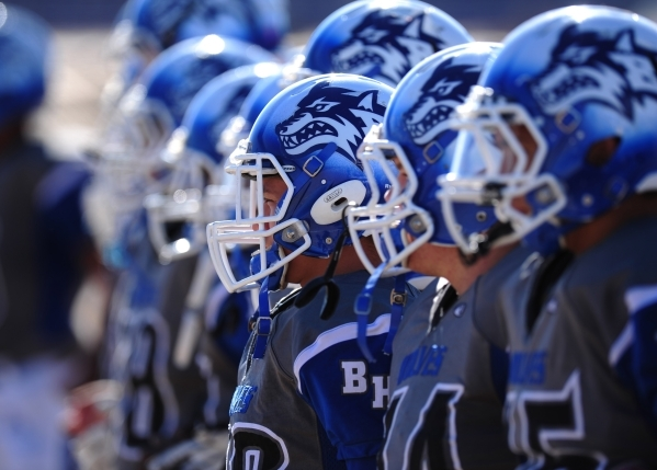 Basic Wolves are seen before the start of the NIAA Division 1 Sunrise Region Football Final prep football game against Liberty at Basic High School in Henderson  Saturday, Nov. 28, 2015. Liberty d ...