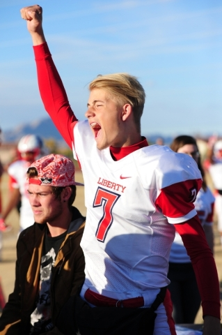 Liberty quarterback Kenyon Oblad celebrates after Liberty recovered a Basic fumble in the fourth quarter of the NIAA Division 1 Sunrise Region Football Final prep football game at Basic High Schoo ...