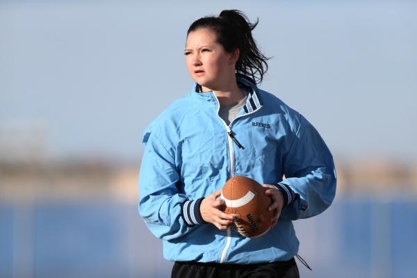 Centennial's Courtney Reeves walks with the ball during a girl's flag football practice at Centennial High School in Las Vegas Tuesday, Nov. 24, 2015. Erik Verduzco/Las Vegas Review-Jo ...