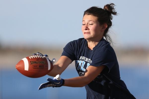 Centennial's Ashley Marshall reaches for a catch during a girl's flag football practice at Centennial High School in Las Vegas Tuesday, Nov. 24, 2015. Erik Verduzco/Las Vegas Review-Jo ...