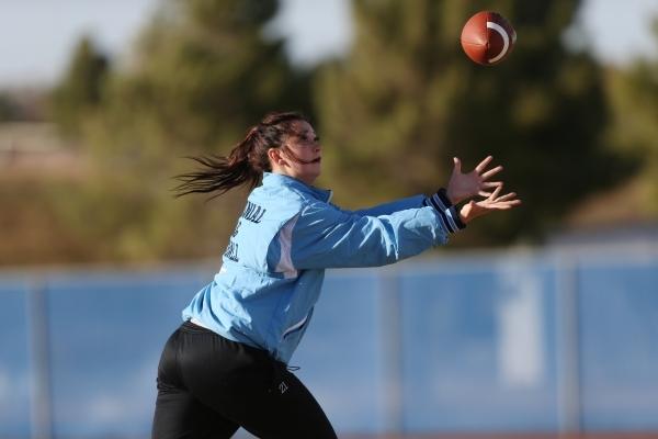 Centennial's Courtney Reeves reaches for a catch during a girl's flag football practice at Centennial High School in Las Vegas Tuesday, Nov. 24, 2015. Erik Verduzco/Las Vegas Review-Jo ...
