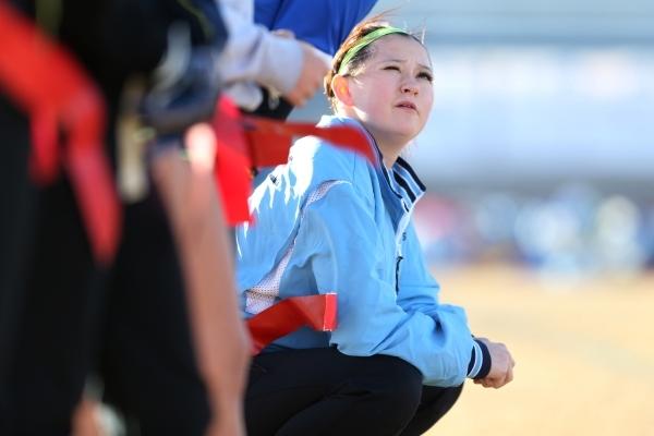 Centennial's Courtney Reeves talks with a teammate during a girl's flag football practice at Centennial High School in Las Vegas Tuesday, Nov. 24, 2015. Erik Verduzco/Las Vegas Review- ...