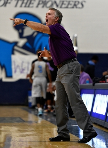 Cimarron-Memorial coach Daryl Branham calls to his team during a high school basketball game against Canyon Springs at Canyon Springs High School on Monday, Nov. 30, 2015. (David Becker/Las Vegas  ...