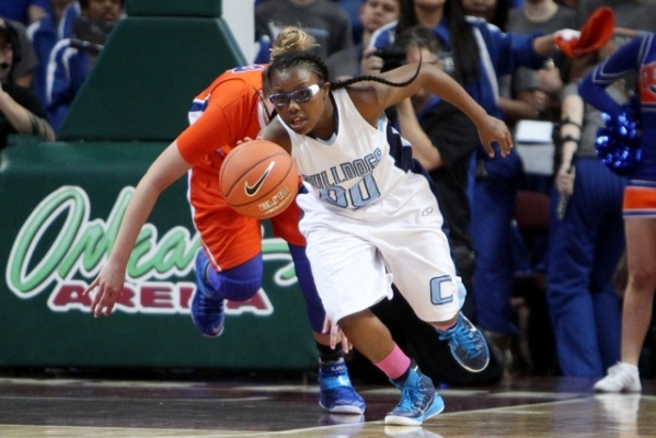 Centennial guard Tanjanae Wells runs a steal from Bishop Gorman up court during their Division I state championship game Friday, Feb. 27, 2015, at the Orleans Arena. Wells had seven points in the  ...