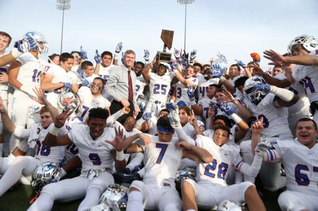 Bishop Gorman celebrates its win against Liberty in the Division I state championship game at Sam Boys Stadium in Las Vegas Saturday, Dec. 5, 2015. Bishop Gorman won 62-21. Erik Verduzco/Las Vegas ...