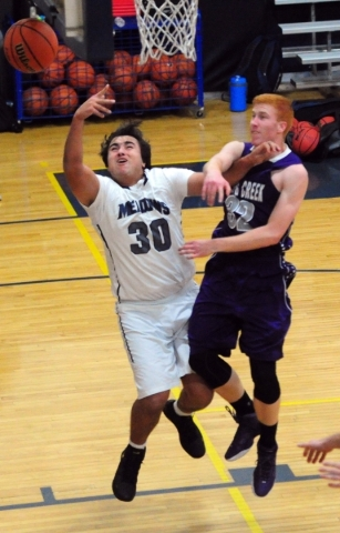 The Meadows School forward Alex Agrawal (30) is fouled by Spring Creek forward Jake Miner (32) during their prep basketball game at Lake Mead Christian Academy in Henderson  Friday, Dec. 4, 2015.  ...