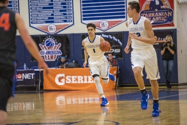 Bishop Gorman guard Chase Nomaaea (1) moves with the ball against Timpview (Utah) during the first half at Bishop Gorman High School in Las Vegas on Wednesday, Dec. 16, 2015. Joshua Dahl/Las Vegas ...