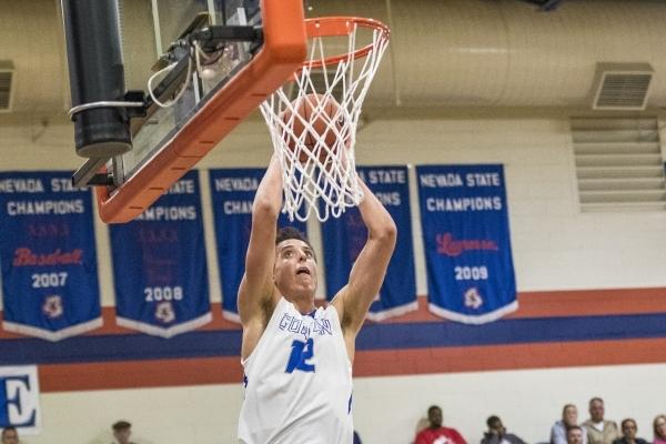 Bishop Gorman center Zach Collins (12) dunks the ball against Timpview (Utah) during the first half at Bishop Gorman High School in Las Vegas on Wednesday, Dec. 16, 2015. Joshua Dahl/Las Vegas Rev ...