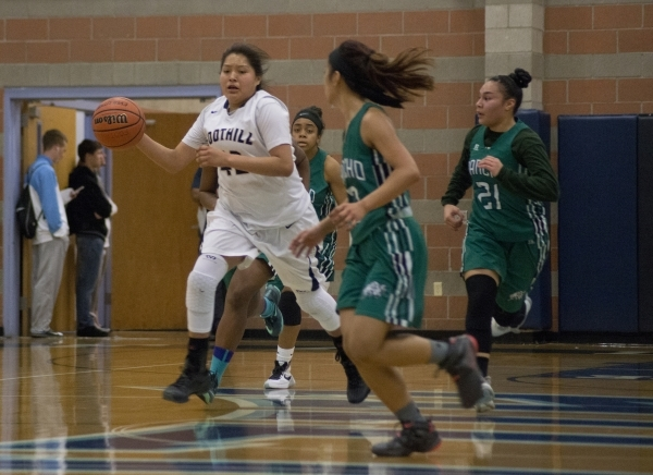 Foothill's Trinity Betoney (42) works the ball up the court during their home game against Rancho in Henderson on Tuesday, Jan. 5, 2016. Foothill won the game 48-41. Daniel Clark/Las Vegas R ...