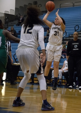 Foothill's Bri Rosales (31) takes a shot at the basket during their home game against Rancho in Henderson on Tuesday Jan. 5, 2016. Foothill won the game 48-41. Daniel Clark/Las Vegas Review- ...