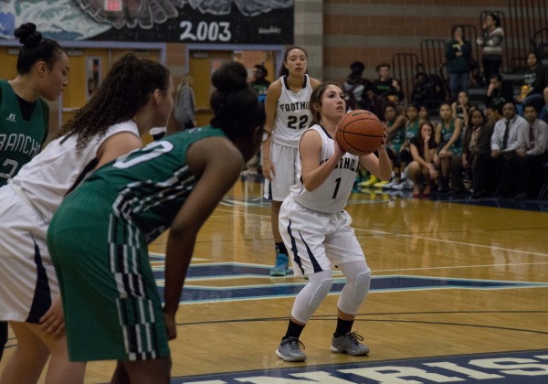 Foothill's Amanda Carducci (1) makes a free throw during their home game against Rancho in Henderson on Tuesday, Jan. 5, 2016. Foothill won the game 48-41. Daniel Clark/Las Vegas Review-Journal