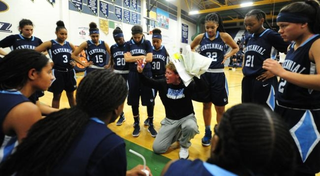 Centennial head girls basketball coach Karen Weitz is seen during a timeout against Spring Valley in the second quarter of their prep girl's basketball game at Spring Valley High School in L ...
