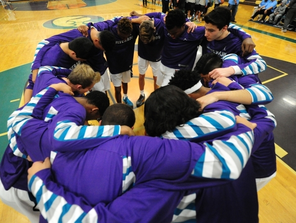 Silverado players huddle before the start of their prep basketball game against Canyon Springs at Silverado High School in Las Vegas Wednesday, Jan. 20, 2016. Silverado won 57-51. Josh Holmberg/La ...