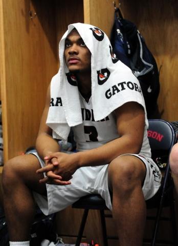 Findlay Prep guard Carlos Johnson, a UNLV commit, is seen in the lockerroom at halftime of their prep basketball game against Las Vegas at the Henderson International School in Las Vegas Saturday, ...