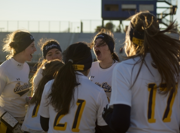 The Boulder City High School flag football team cheers before heading out onto the field for their game against Desert Pines at Desert Pines High School in Las Vegas on Monday, Feb. 1, 2016. Bould ...