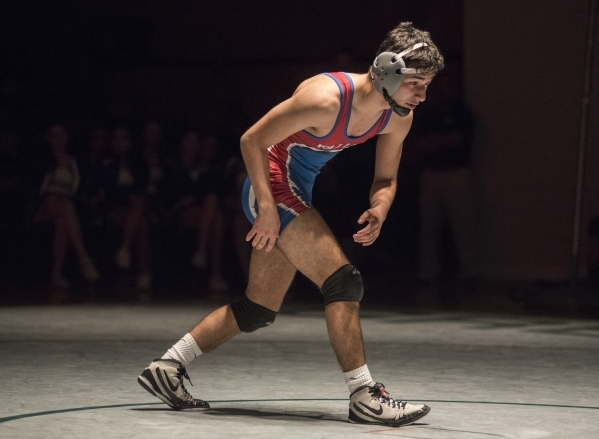 Valley's Ulises Munguia is seen at his 106 lbs. championship match during the Division 1 Sunrise Region wrestling meet at the Green Valley high school gym in Henderson, Nev., on Saturday, Fe ...