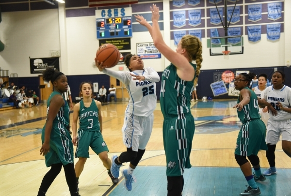 Canyon Springs D'Licya Feaster (25) goes up for a shot against Rancho's Samantha Pochop (44) during the Sunrise Regional quarterfinal basketball game played at the Canyon Springs gym i ...