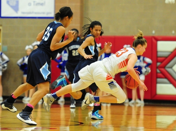 Centennial guard Samantha Thomas (25) fouls Bishop Gorman guard Megan Jacobs in the third quarter of their prep basketball game at Arbor View High School in Las Vegas Friday, Feb. 19, 2016. Centen ...