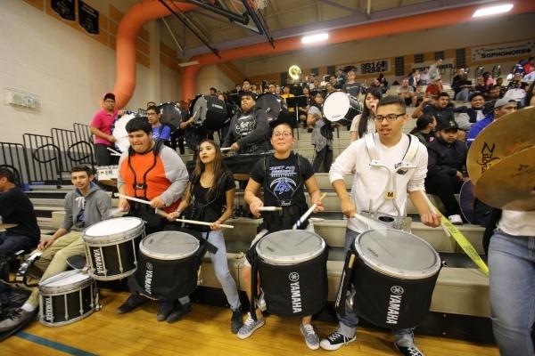 The Desert Pines High School drumlins plays a song during the I-A Southern boys basketball final at Desert Pines High School in Las Vegas, on Saturday, Feb. 20, 2016. Desert Pines won 47-42. Brett ...