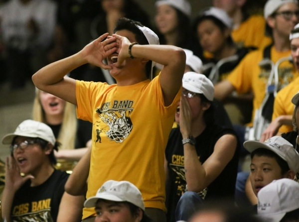 A Clark High School fan cheers for his team during the I-A Southern boys basketball final at Desert Pines High School in Las Vegas, on Saturday, Feb. 20, 2016. Desert Pines won 47-42. Brett Le Bla ...